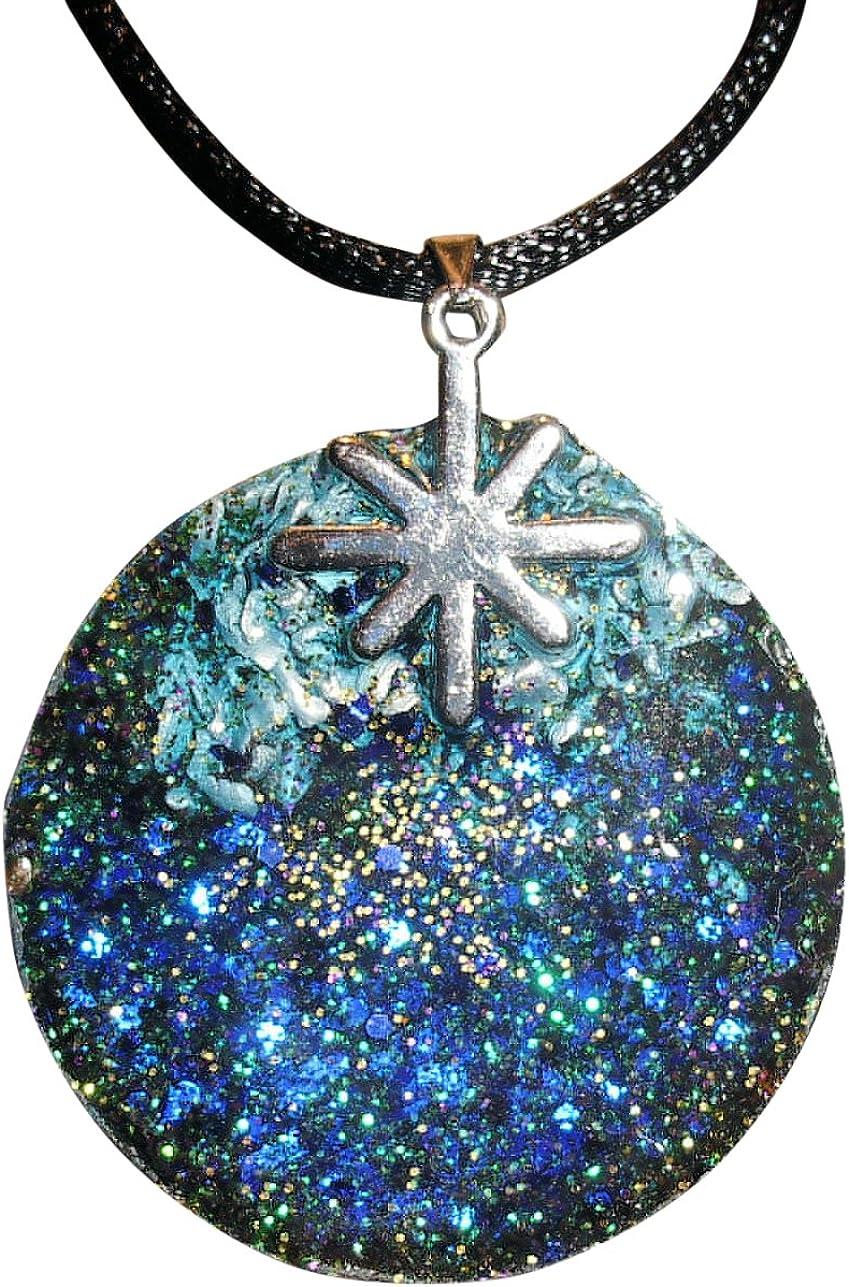 Archangel Raphael Sigil Magic Planet Energy Amulet Puffy Heart Blue Simulated Cats Eye 22 inch Necklace