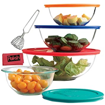Lovely 8 Piece Glass Mixing Bowls With Lids | Glass Food Storage Containers |  Dishwasher,