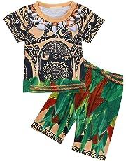 FEESHOW 2 Pcs Maui Toddler Little Boys Cartoon Printed Loose Pajamas Set Top Pants/Shorts Sleepwear