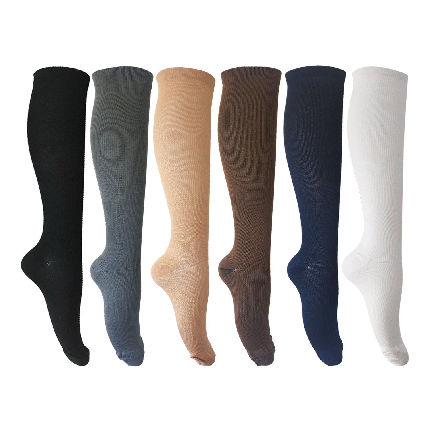 MIXSNOW 6 Pairs of Compression Socks for Men and Women for Running, Nurses, Shin Splints, Travel, Flight, Pregnancy & Maternity Large/X-Large Assorted 1 (6 Colors) by MIXSNOW