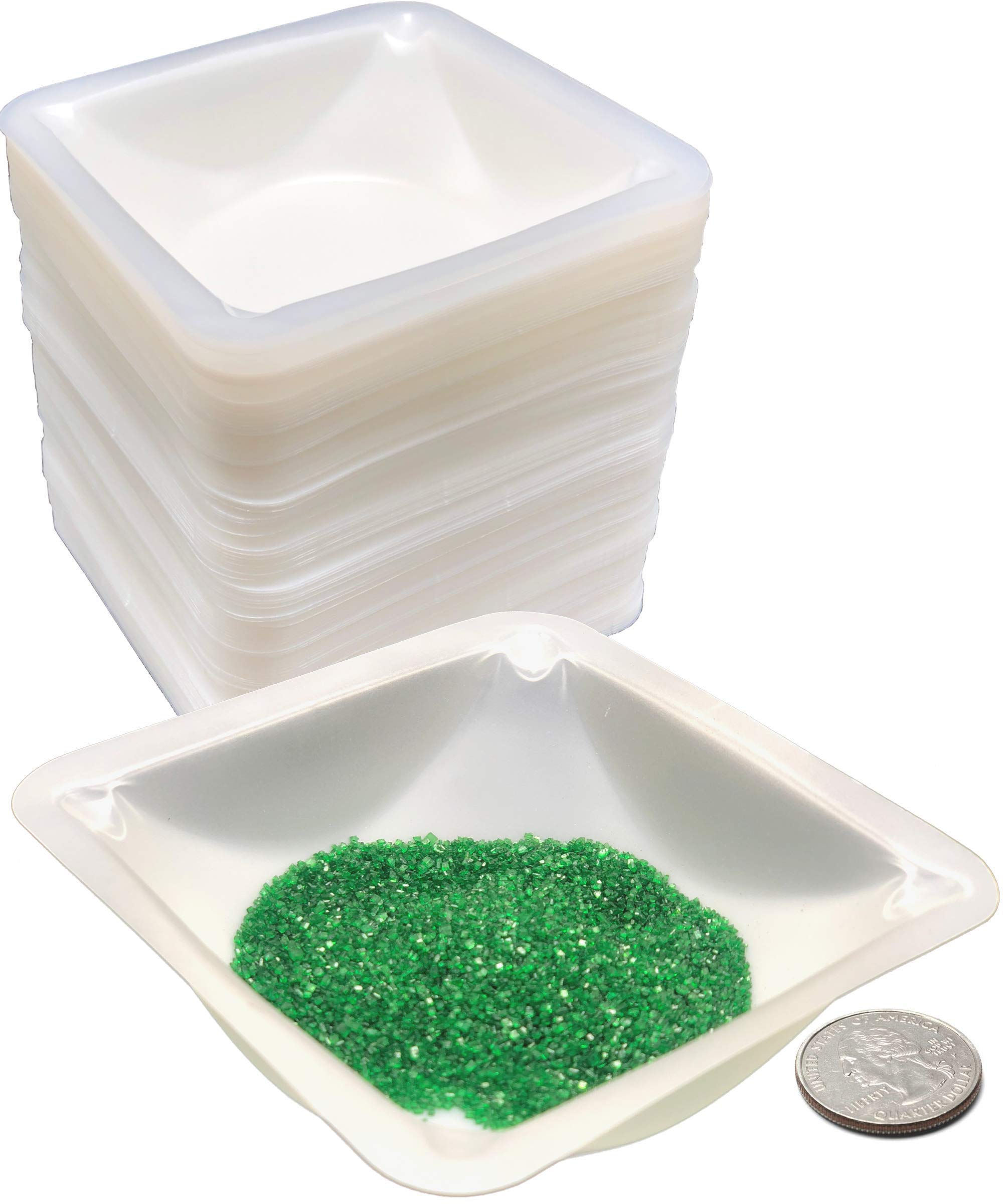 Pure Ponta Medium Weigh Boats | 125 Pack 100ml Plastic Square Weighing Dishes - Measure Powders & Liquids with Easy Pour Design | Medium Polystyrene Weigh Dish by Pure Ponta