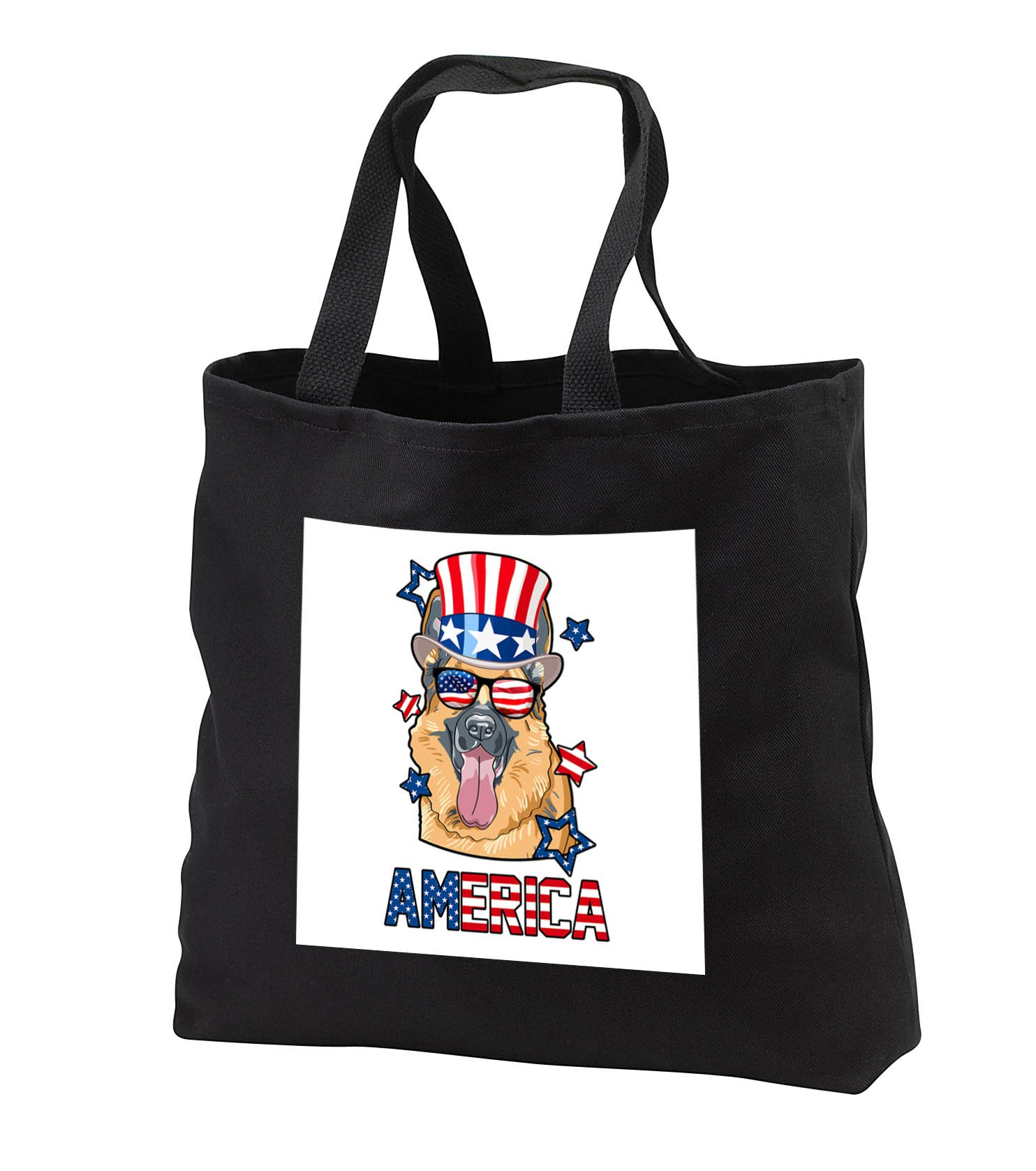 Patriotic American Dogs - German Shepherd With American Flag Sunglasses and Tophat Dog America - Tote Bags - Black Tote Bag 14w x 14h x 3d (tb_284225_1)