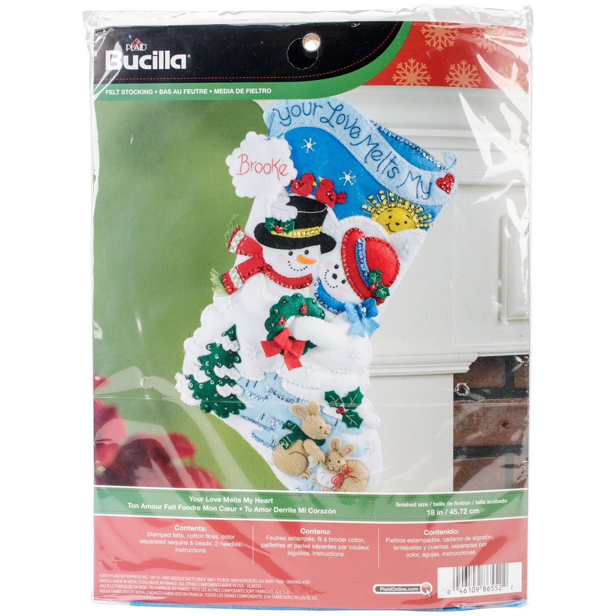 Bucilla 18-Inch Christmas Stocking Felt Applique Kit, 86552 Your Love Melts My Heart