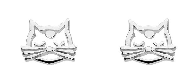 Dew Sterling Silver Cat Feline Face Stud Earrings 4855HP 1EahxWtO