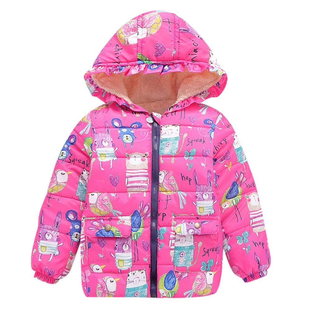 HOMEBABY Kids Baby Girl Boy Winter Cotton Down Padded Hooded Coat Lightweight Toddlers Cartoon Warm Cloak Jacket Thick Cardigan Hoodie Casual Long Sleeve Tops Clothes