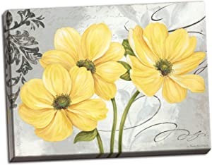 Gango Home Décor Colori Yellow I Beautiful Grey and Yellow Floral Canvas; One 20x16in Hand-Stretched Canvas