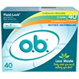 o.b. Original Non-Applicator Tampons, Regular, Super, & Super Plus Absorbancies,