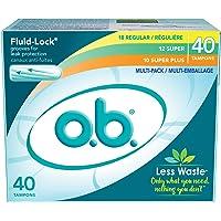 o.b. Tampons, Multi-Pack (18 Regular/12 Super/10 Super Plus), 40 ct
