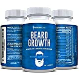 Beard Growth Supplement with Vitamins for a Fuller, Longer, Thicker Beard   Also Promotes Faster Facial Hair Growth   Natural Complex with Biotin for Healthy & Strong Hair   60 Capsules