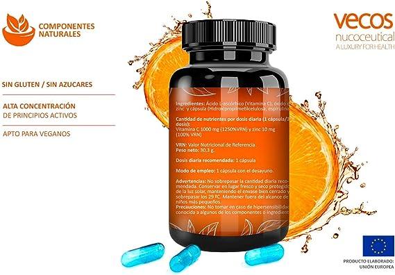 Vitamina C 1000 Mg con zinc para reforzar el sistema inmunológico ...