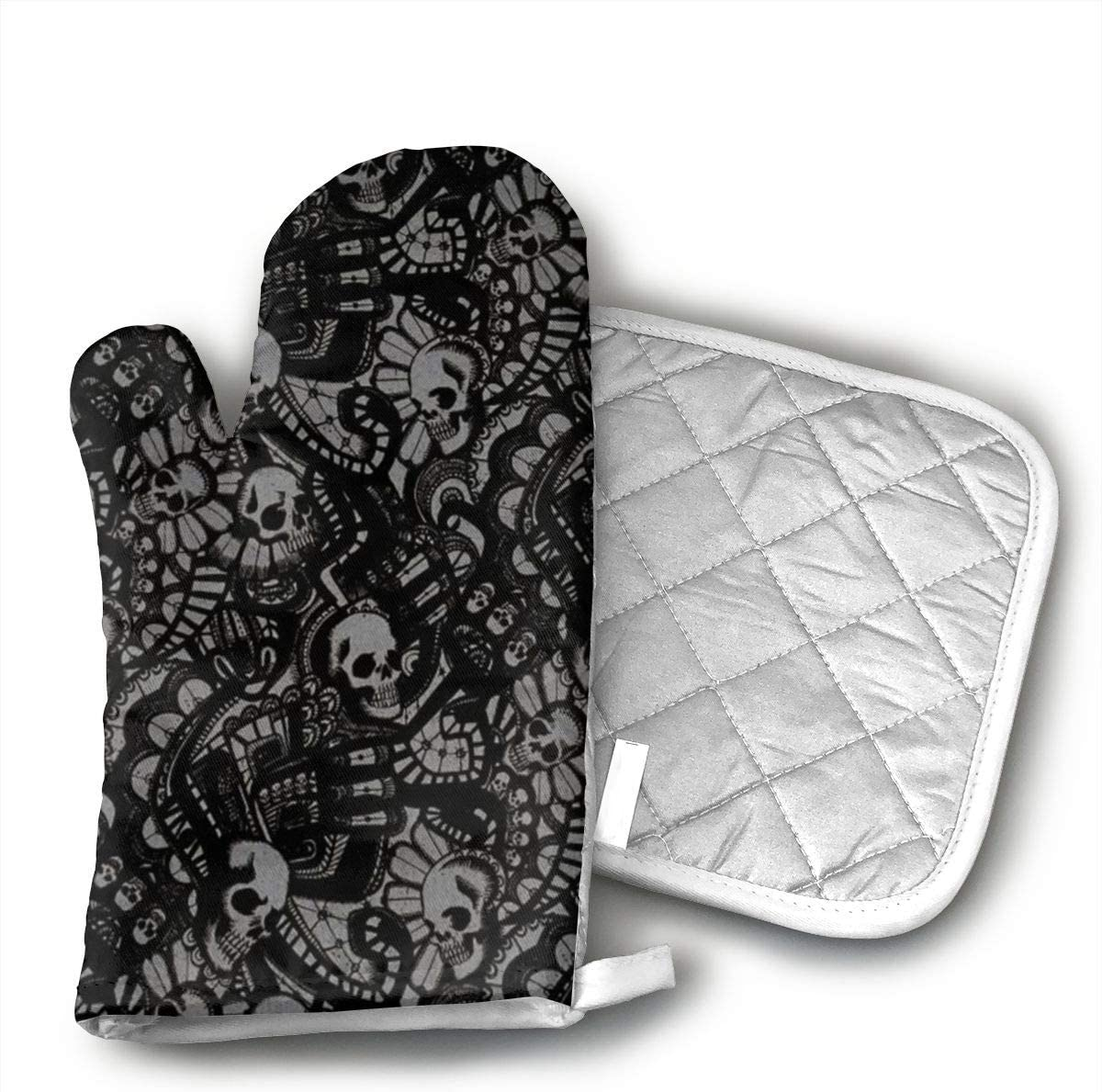 Wiqo9 Scary Skull Horror Oven Mitts and Pot Holders Kitchen Mitten Cooking Gloves,Cooking, Baking, BBQ.
