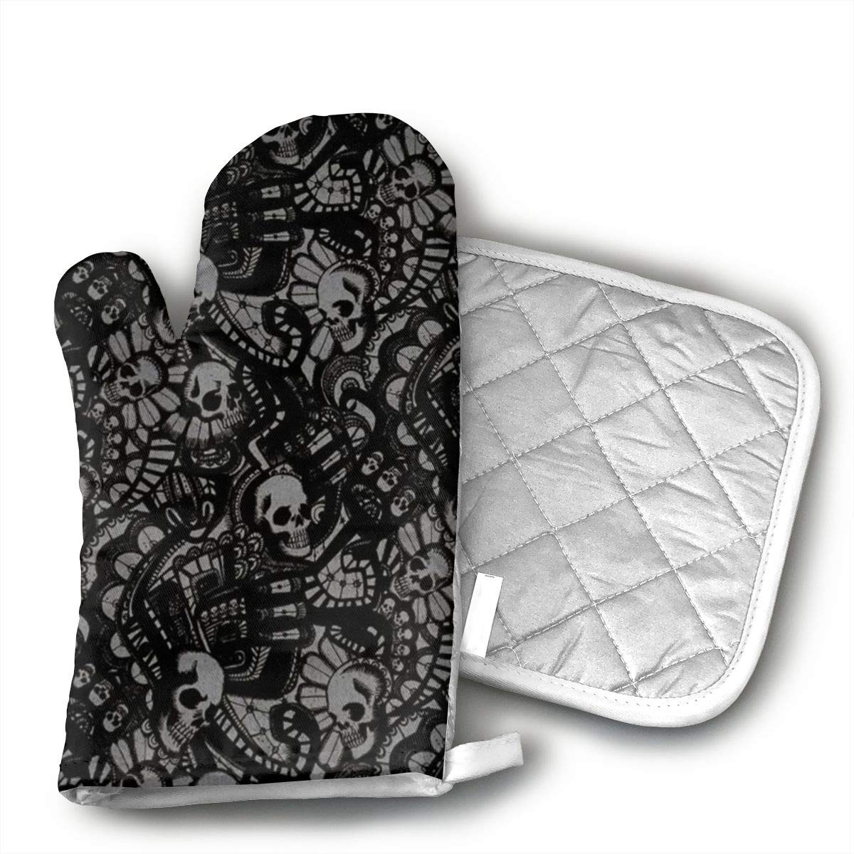GRSTfsm Scary Skull Horror Oven Mitts, Cook Mittens Protect Your Hand During Baking Doing BBQ