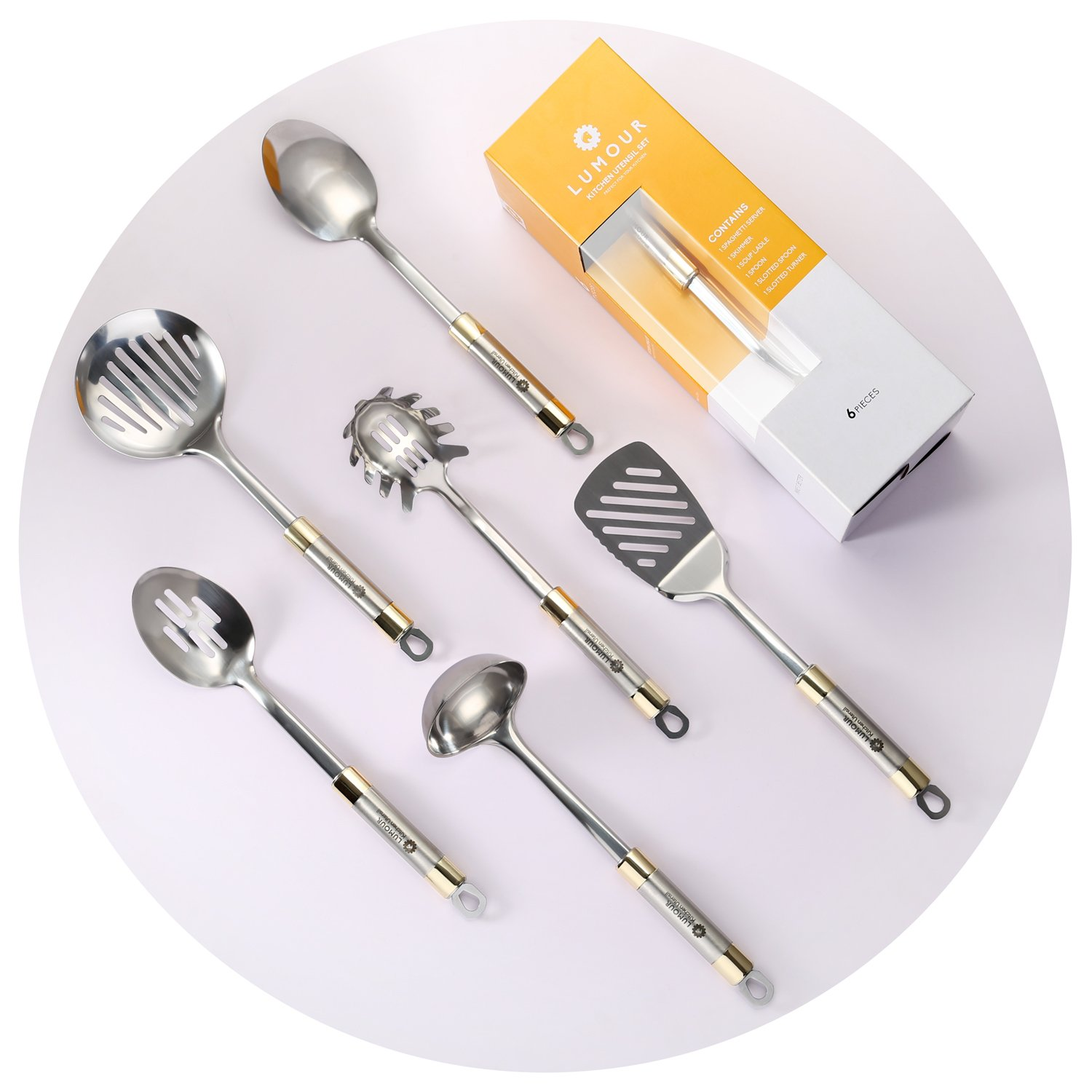 Stainless Steel Gold Kitchen Cooking Utensils Set, dishwasher safe, 6 Pieces Set by Lumour