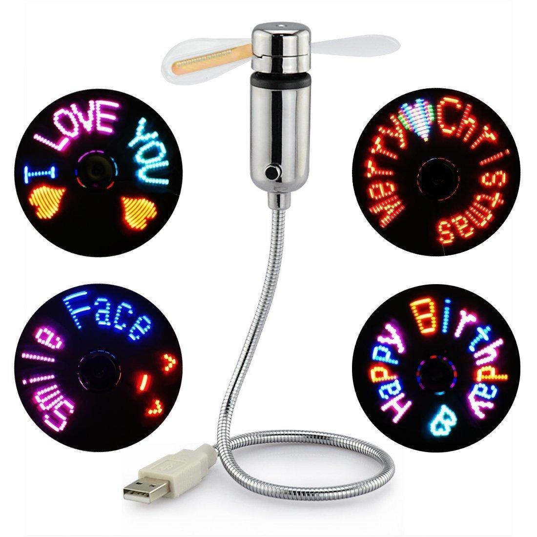 New Creative USB Fan,WMLIFE USB LED RGB Programmable Fan Flexible Gooseneck Mini USB Programmable Fan for PC Laptop Notebook Desktops (RGB LED)
