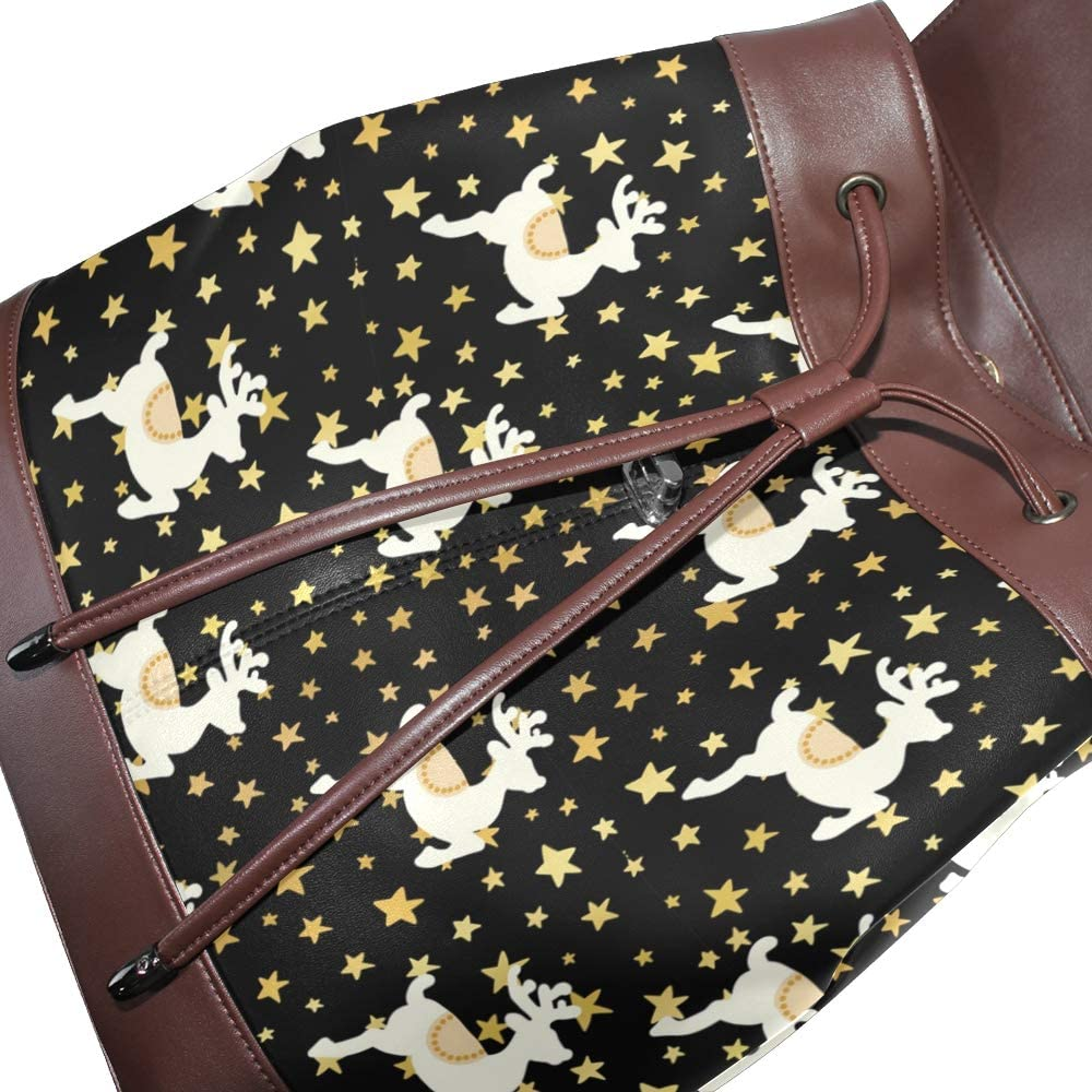 Unisex PU Leather Backpack Christmas Reindeer Xmas Gold Star Print Womens Casual Daypack Mens Travel Sports Bag Boys College Bookbag
