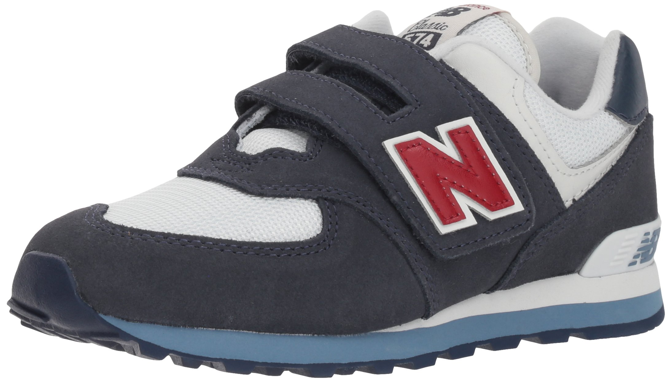 New Balance Boys' 574v1 Essentials Hook and Loop Sneaker, Navy/red, 7 M US Toddler