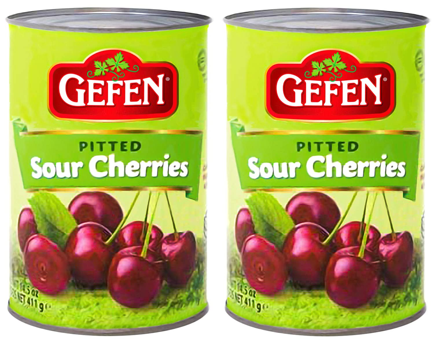 Gefen Pitted Sour Tart Cherries 14.5 oz (2 PACK) In Water, Two Ingredients Only, Nothing Artificial, Gluten Free, Premium Quality!