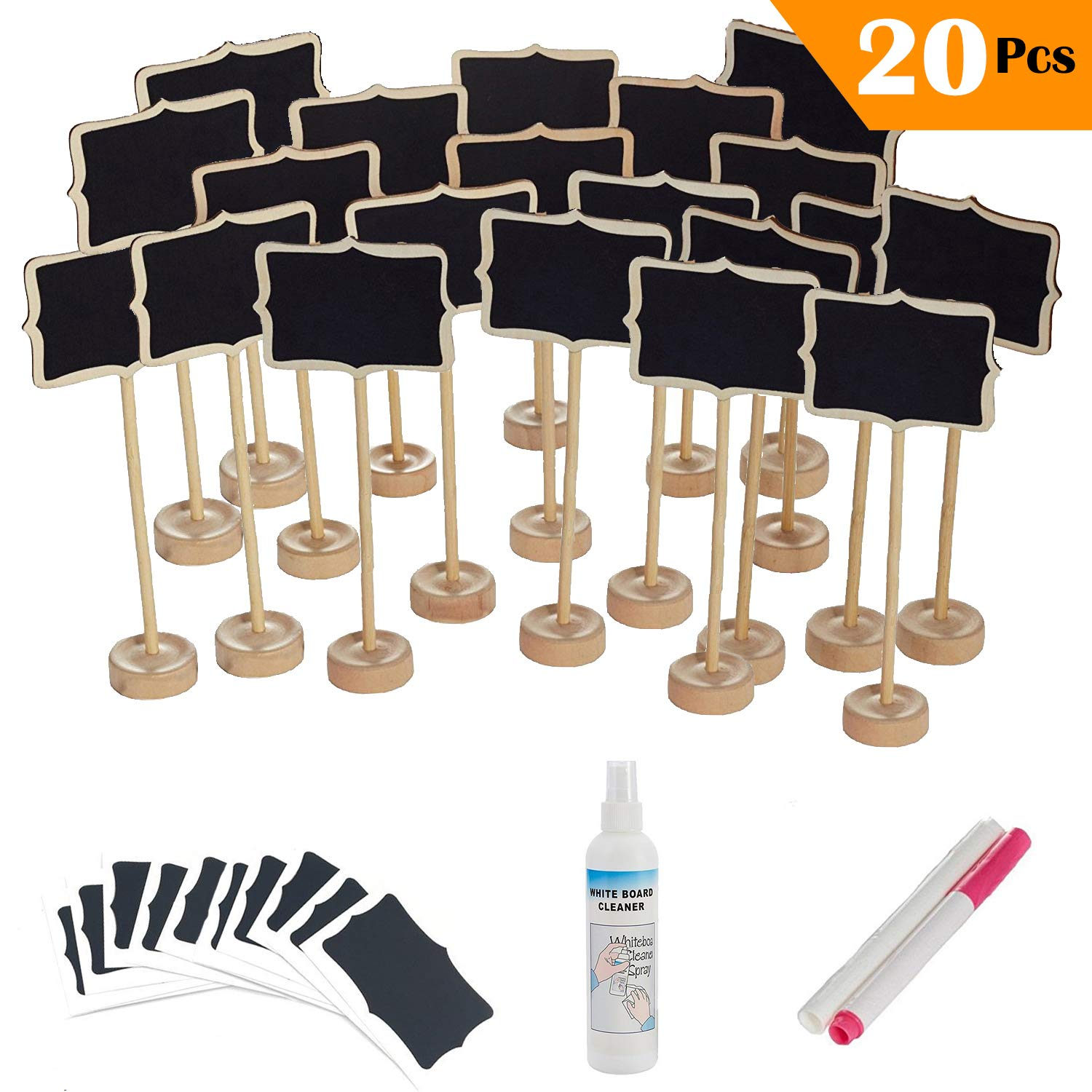 20 Pcs Mini Rectangle Chalkboard with Stand for Message Board Signs EBYTOP Chalkboard-20PCG