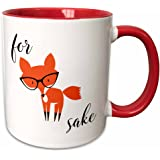 """3dRose mug_235574_5 """"For Fox Sake"""" Two Tone Red Mug, 11 oz, Red/White"""
