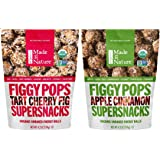 Made In Nature Organic Figgy Pops Supersnacks 2 Flavor Variety Bundle: (1) Tart Cherry, and (1) Apple Cinnamon, 4.2 Oz. Ea.
