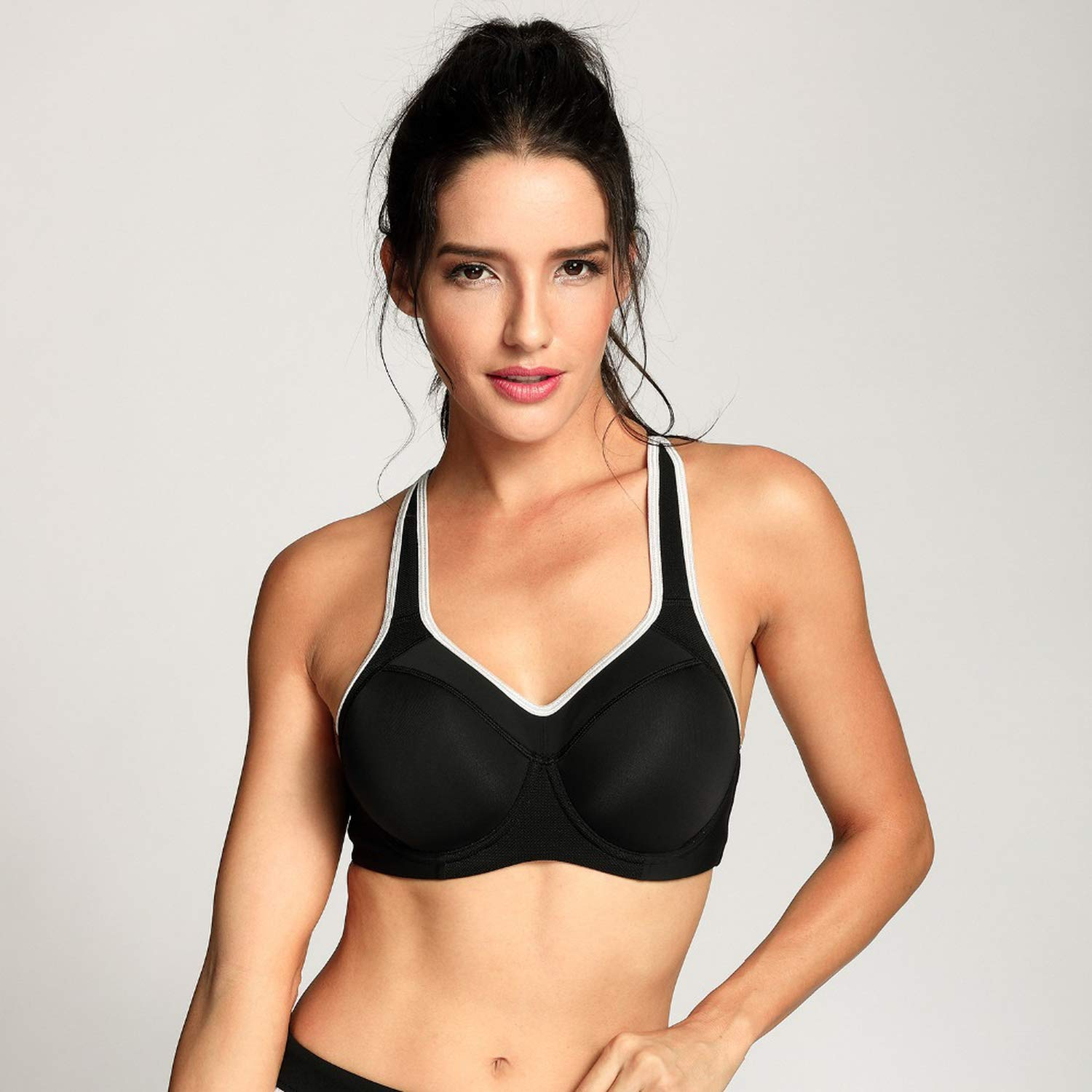Henraly Womens Full Support Racerback Lightly Lined Underwire Sports Bra,Black01,C,40