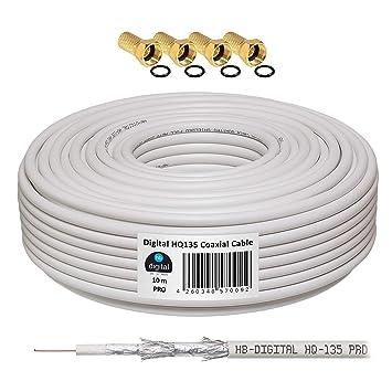 130 db 10 m Cable Coaxial SAT HQ-135 PRO 4 x escudada para DVB