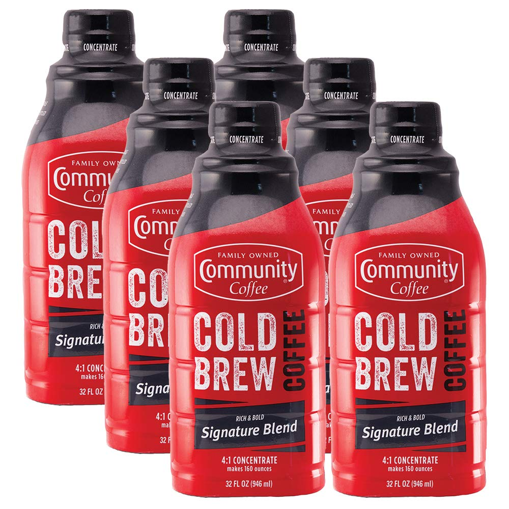Community Coffee - Cold Brew Coffee Concentrate - Signature Blend Dark Roast - 32 Fl. Oz. Bottle (Pack Of 6, Total 192 Fl. Oz.) 4: 1 Concentrate, Signature Dark, 192 Oz