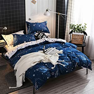 Chanyuan Boys Star Galaxy Bedding Duvet Cover Full Queen Size Space Planet Boundless Galaxy Starlight Reversible Bedding Set,Super Soft Hypoallergenic Microfiber,Zipper Closure (S-6,Q)
