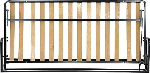 Wallbedking Cama De Matrimonio Abatible Horizontal 90 x 190 cm (Cama Doble Estilo Murphy Bed, Cama Plegable, sofá Cama, Mueble Cama Oculta).