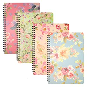Spiral Notebooks 6 × 8 Inch, 4 Pack College Ruled Journals Spiral Bound Notebooks, Hardcover Floral Notebooks Lined for School Students Office, 80 Sheets/160 Pages, A5 Size