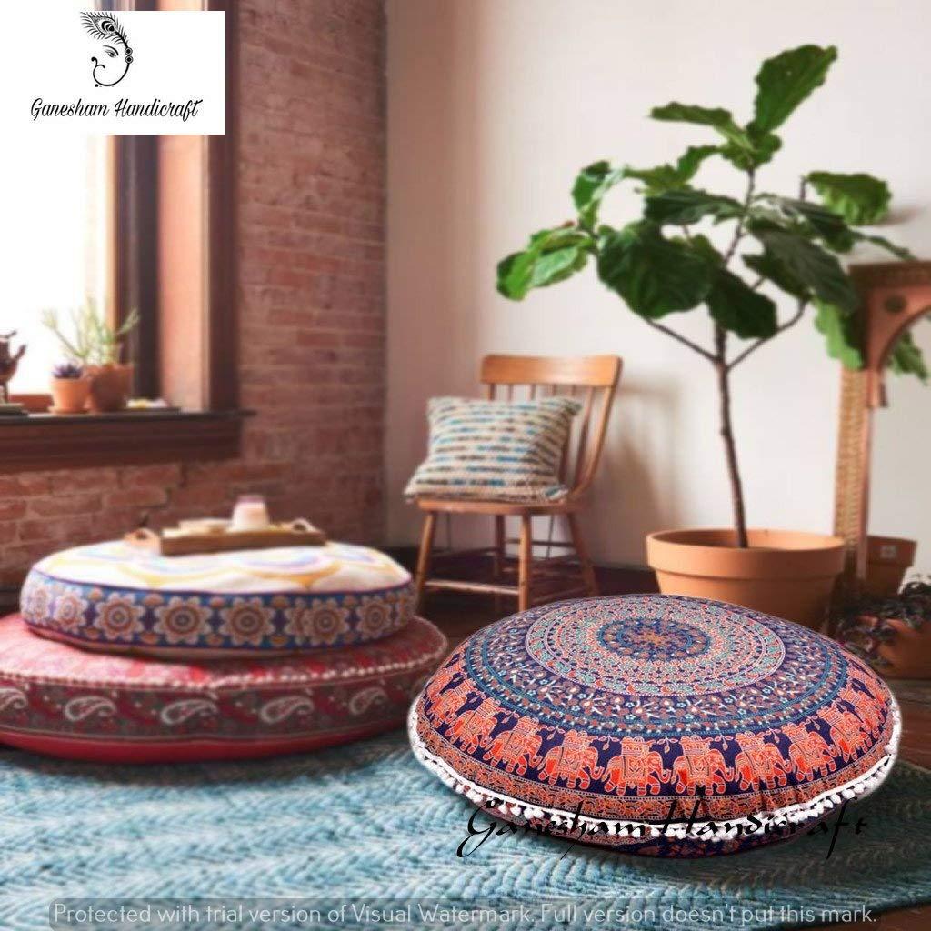 Ganesham Handicrafts- Psychedelic Mandala Tapestry, Round Seating Pouf Ottoman, Mandala Floor Pillow, Meditation Pillow Cover, Handmade Pillow Insert, Mandala Pillow Throw,Boho Pillow (Cover Only)