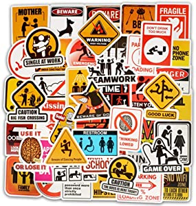 EHOPE Traffic Signs Danger Warning Stickers Comic Computer Stickers Vinyl Stickers for Car Bike Laptop Skateboard Luggage Decal Graffiti Patches Stickers (50 pcs Warning Sign Style)