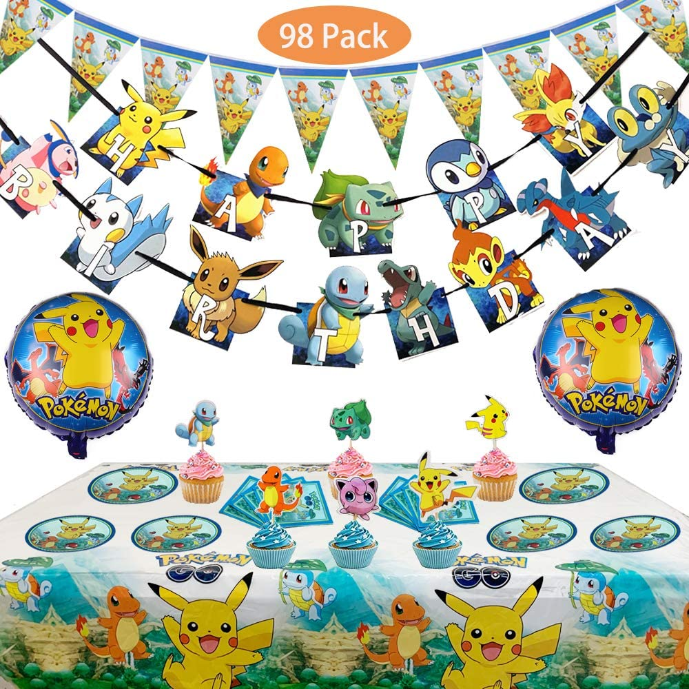 Set of 7 Pcs Pokemons Birthday Party Supplies for Kids and Boys Includes  Birthday Cake Decorations Plates Table Cloth