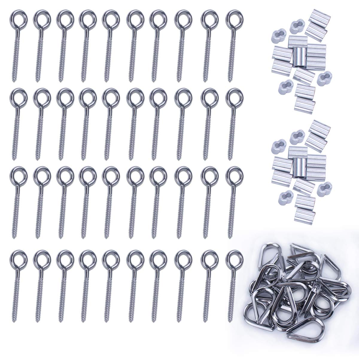 Muzata 1/8'' Wire Rope Cable Kit,Inluded M6 Stainless Steel Eyes Screw 40Pcs,M3 Aluminum Crimping Loop 40Pcs, M3 Stainless Steel Thimble 40Pcs