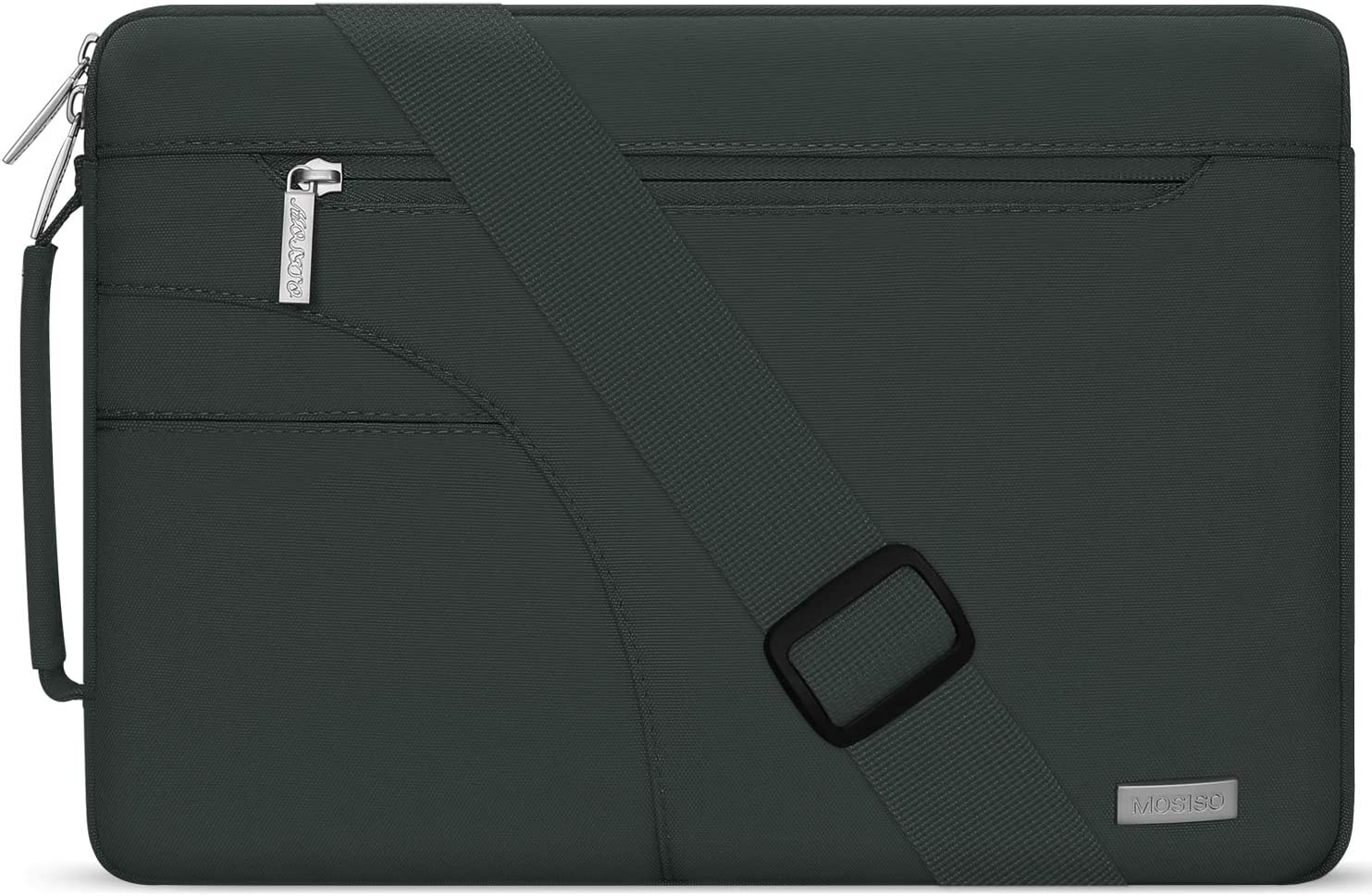 MOSISO Laptop Shoulder Bag Compatible with 13-13.3 inch MacBook Pro, MacBook Air, Notebook Computer, Polyester Briefcase Sleeve with Side Handle, Midnight Green