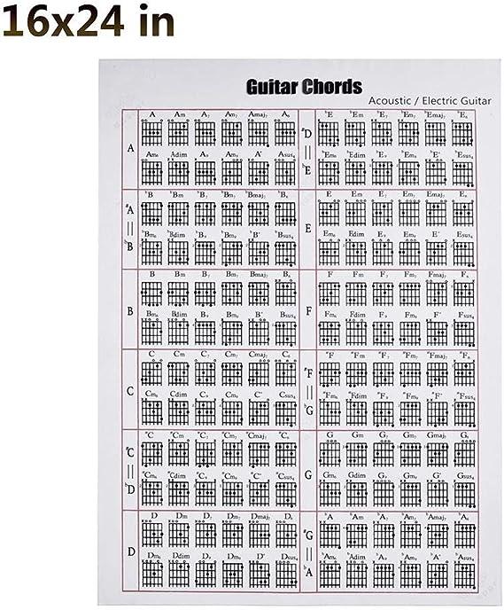 Guitarra acordeones mapa libro de tapa blanda acorde espectro para guitarra eléctrica folk guitarra clásica de 6 cuerdas, 16x24inch(40x60cm): Amazon.es: Instrumentos musicales