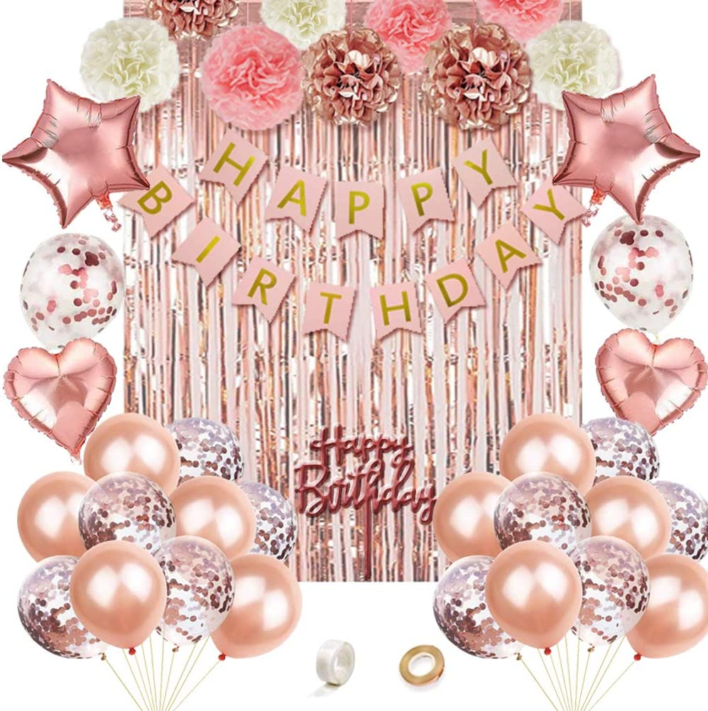 Heart Star Foil Confetti Balloons for Girl Birthday Party Rose Gold Fringe Curtain Rose Gold Birthday Party Decorations,Rose Gold Party Decor Kit,Happy Birthday Banner