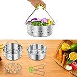 Flourance Accessories for Instant Pot 6 8 Quart: Steamer Basket,Insert Pan,Egg Steamer Rack,Jar Lifter,Fits 6 8 qt Pressure Cooker