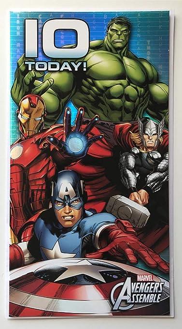 Marvel Avengers Assemble tarjeta de cumpleaños 10 años ahora ...