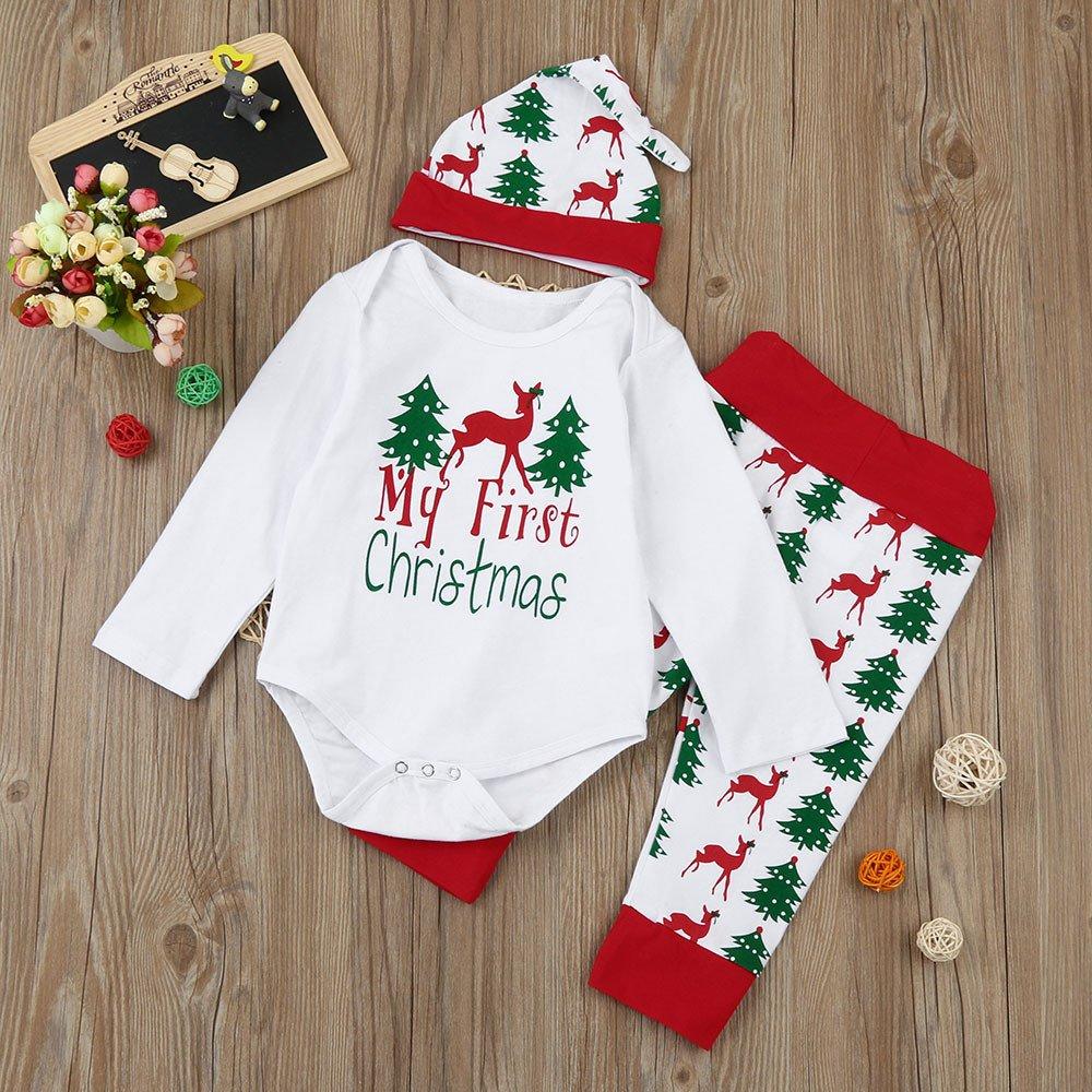 Pants Hat Set LEXUPE Weihnachten Neugeborenen Kinder Baby M/ädchen Jungen Outfits Kleidung 3 St/ücke Strampler