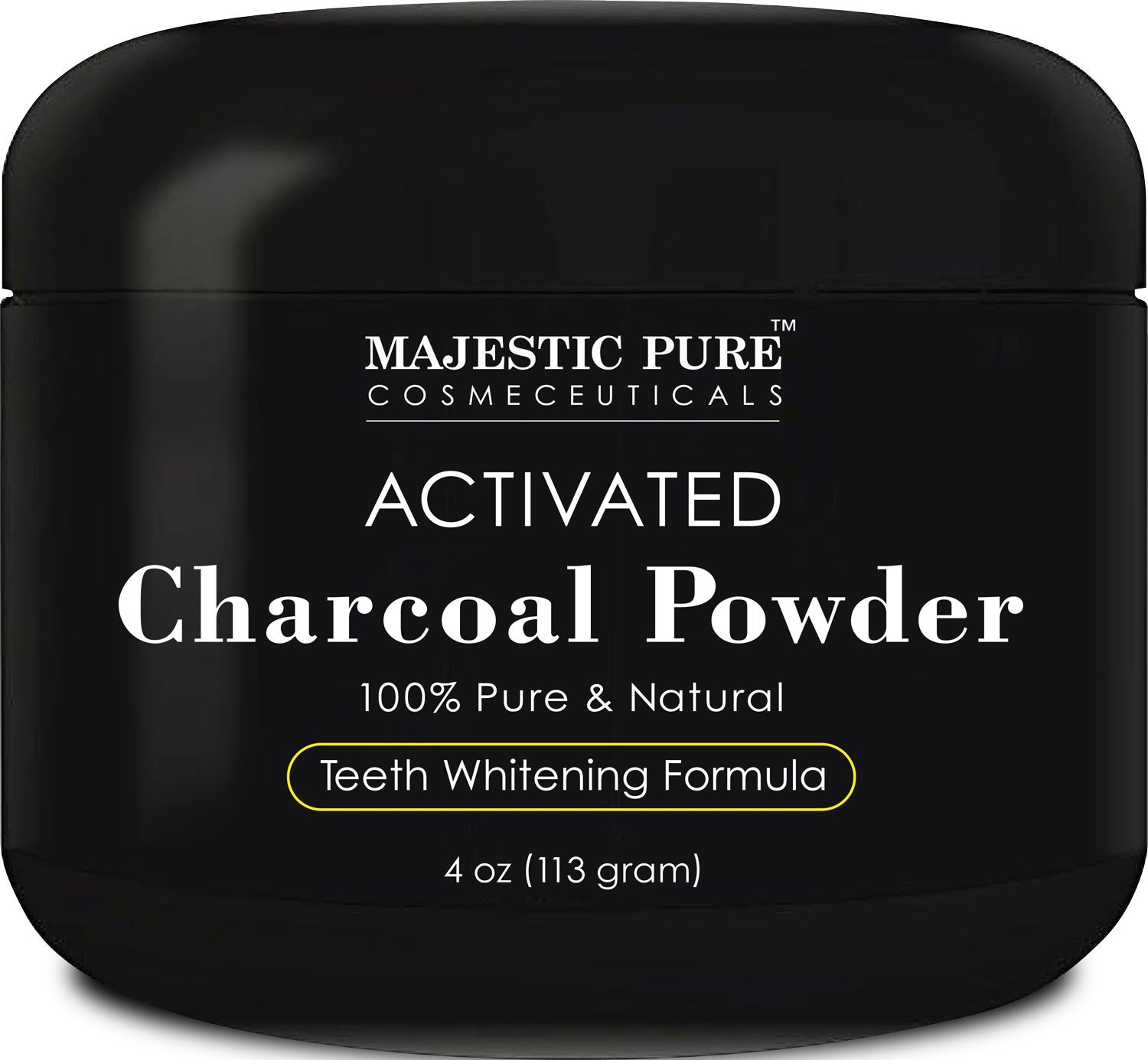Teeth Whitening Charcoal by Majestic Pure | Natural Charcoal Teeth Whitening with Coconut Activated Charcoal, Non Abrasive, 4 oz
