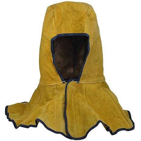 Amarillo Campana de soldadura Relleno de piel de vaca Cuero Capucha con cuello Hombro Cubrir