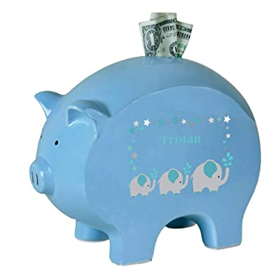 Personalized Blue Piggy Bank with Grey and Teal Elephant Design : Baby