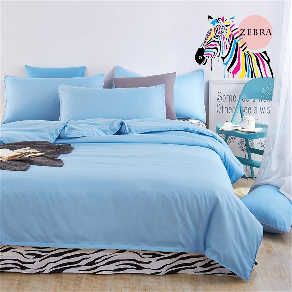 1 Flat Sheet Blue+Zebra COMFORTEX Duvet Cover Set With Aditional Flat Sheet 4-Piece Queen Size Soft Comfortable Solid Color and Zebra Lightweight Bedding set 1 Duvet Cover 2 Pillowcases