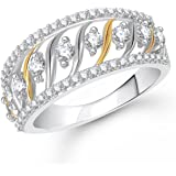 Meenaz Love Ring Valentine Gifts Ring Silver Fancy Party Wear In American Diamond Cz Ring For Girls & Women FR444