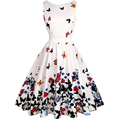 OWIN Womens Vintage 1950s Floral Spring Garden Picnic Dress Party Cocktail Dress (L, White