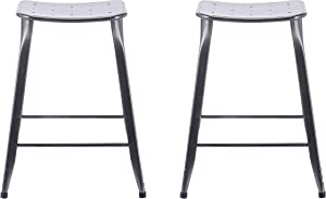 ACEssentials, 270001, Saddle Backless Barstool (2 Pack), 17.1 x 20 x 28.9