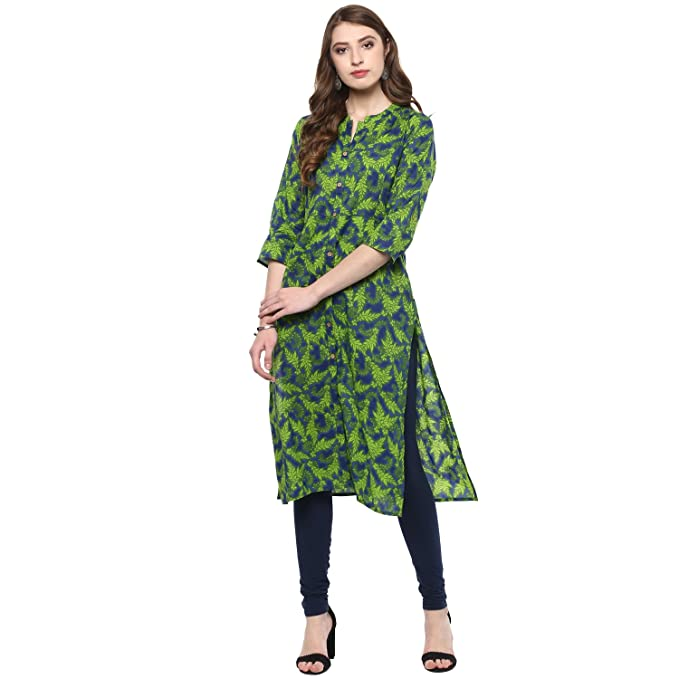 f879c5a8ecf Vedic Womens Cotton Knee Length Kurti with 3 4th Sleeves  Amazon.in   Clothing   Accessories