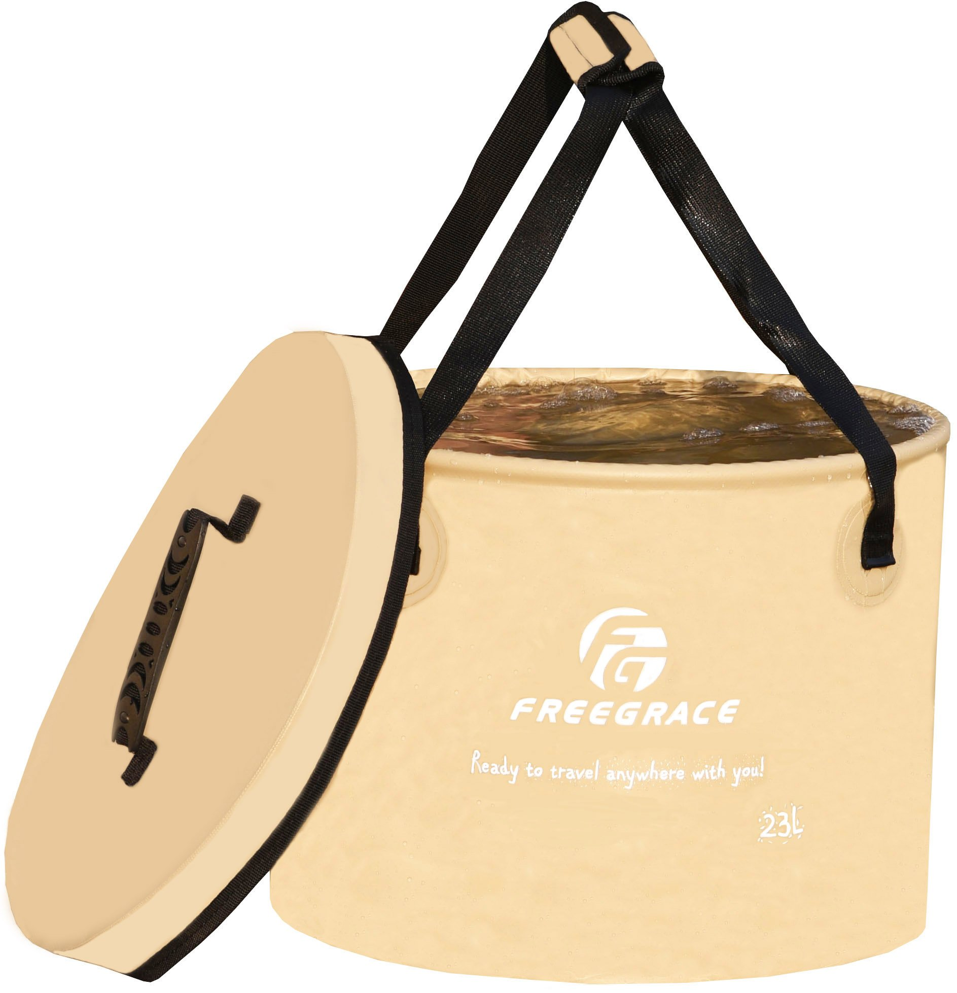 Freegrace Premium Collapsible Bucket -Multifunctional Folding Bucket -Perfect Gear for Camping, Hiking & Travel (Khaki, 23L Upgraded) by Freegrace
