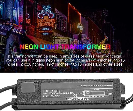 Tuneway Fuente de Alimentaci/óN de Transformador Electr/óNico de Letrero de Luz de Ne/óN Hb-C02Te 3Kv 30Ma 5-25W Apto para Cualquier Tama?o de Letrero de Luz de Ne/óN
